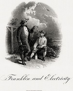 Kite experiment - The BEP engraved the vignette Franklin and Electricity (c. 1860) which was used on the $10 National Bank Note from the 1860s to 1890s.