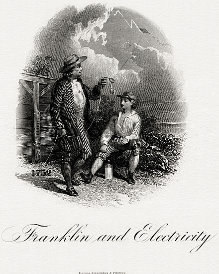 Franklin and Electricity vignette engraved by the BEP (c. 1860) BEP-JONES-Franklin and Electricity.jpg