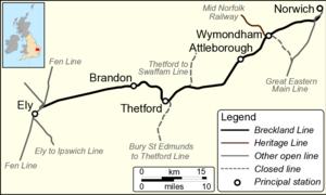 Breckland line - Image: B Lmap