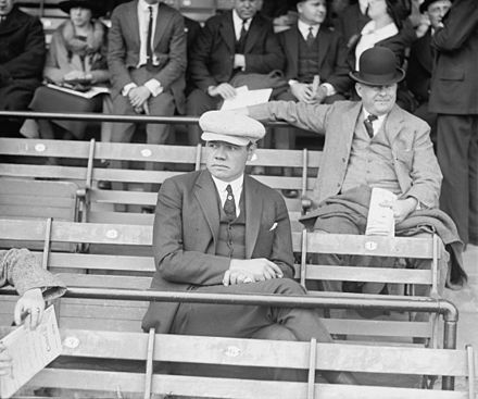 Ruth in the stands on Opening Day, April 12, 1922, at Griffith Stadium in Washington, D.C. Babe Ruth in Stands.jpg