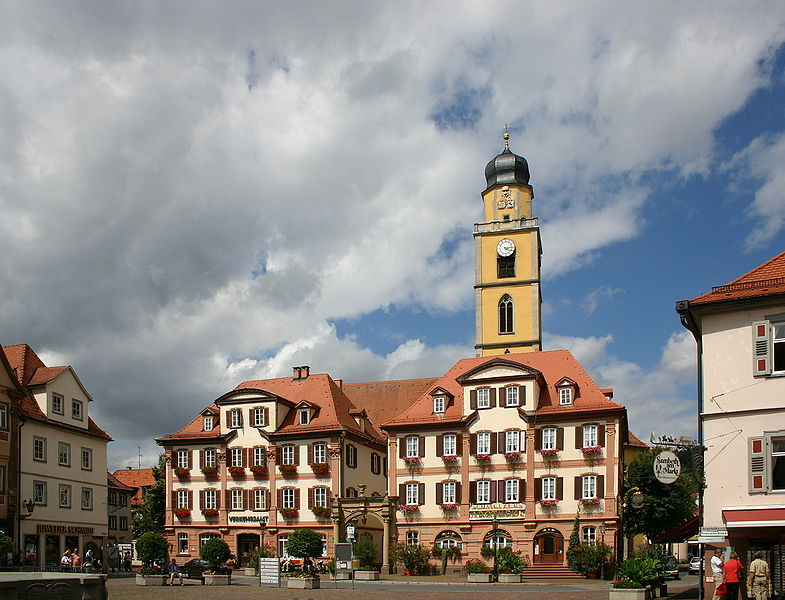 Market square with twin houses and St. John's church in Bad Mergentheim. European Road Trip: Germany's Romantic Road