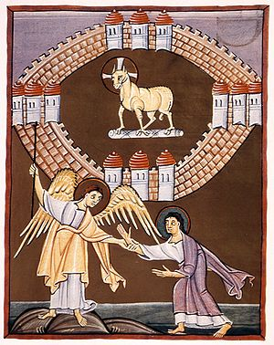 New Jerusalem - Folio 55r of the Bamberg Apocalypse depicts the angel showing John the New Jerusalem, with the Lamb of God at its center.