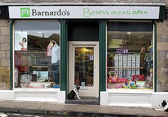 "Barnardo's - A Barnardo's charity shop in Jedburgh, Scotland. Barnardo's current tagline is ""Believe in children""."