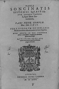 Barbo, Paolo – Divinum Epitoma quaestionum in 4. libros Sententiarum, 1580 – BEIC 4512434.jpg