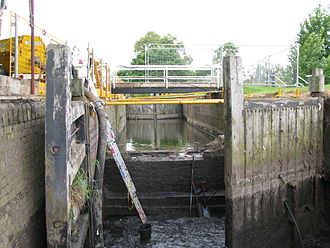 Waterway restoration - A lock on the Droitwich Canal undergoing restoration