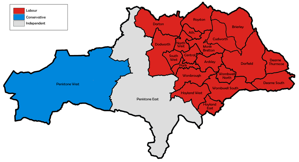 Barnsley UK local election 1996 map