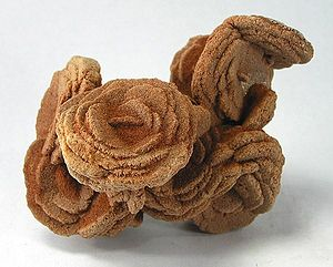 Desert rose (crystal) - Baryte rose from Cleveland County, Oklahoma (size:10.2 x 7.1 x 5.5 cm)