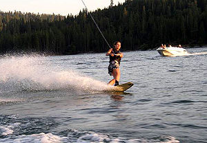 Bass Lake (Madera County, California) - Wakeboarding before sunset.