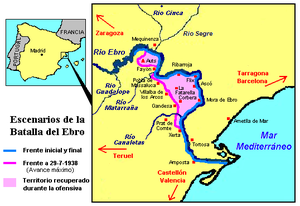 226th Mixed Brigade (Spain) - Map of the Battle of the Ebro and location of the Auts