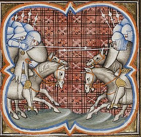 La Bataille de Muret d'après une enluminure du XIVesiècle (Grandes Chroniques de France, BNF, Ms français 2813, fol. 252v.)