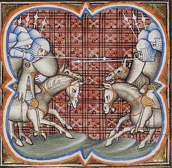 Battle of Muret, depiction from the Grandes Chroniques de France, 14th century.