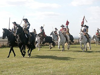 Battle of Winceby - Parliamentary cavalry at 360 year re-enactment of the Battle of Winceby