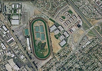 Bay Meadows Racetrack - Aerial view of the track in 2002 prior to demolition
