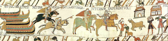 History of English land law - The Bayeux Tapestry depicts William the Conqueror's knights seizing food from English peasants. The Domesday Book of 1086 recorded at least 12% of people as free, 30% as serfs, 35% as servient bordars and cottars, and 9% as slaves.