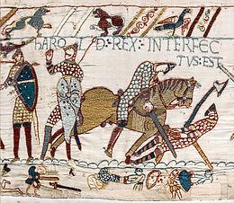 Harold Rex Interfectus Est : la mort du roi Harold sur le champ de bataille, représentée sur la tapisserie de Bayeux.