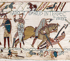 England in the Middle Ages - Section of the Bayeux Tapestry showing the final stages of the battle of Hastings