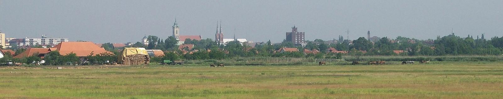 Békéscsaba déli irányból, a vasútról fényképezve