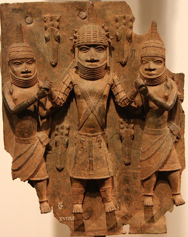 Benin brass plaque 01