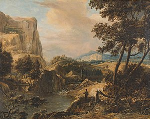 Mountainous landscape with fisherman