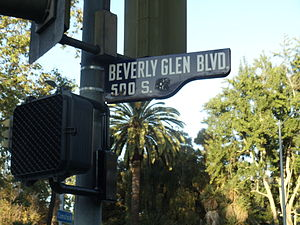 Beverly Glen Boulevard - Sign of Beverly Glen Boulevard in Holmby Hills, Los Angeles, California