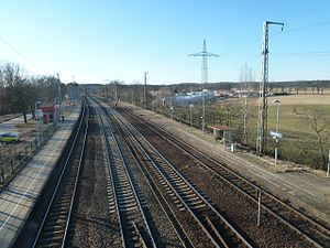 Michendorf–Großbeeren railway - The Bypass Railway from Michendorf and the Outer Ring from Potsdam come together at Saarmund station