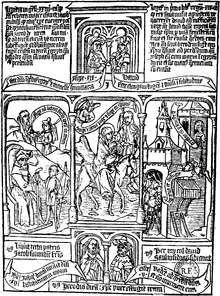 A monochromatic woodcut print of a page from a mediaeval book depicting a bible scene.