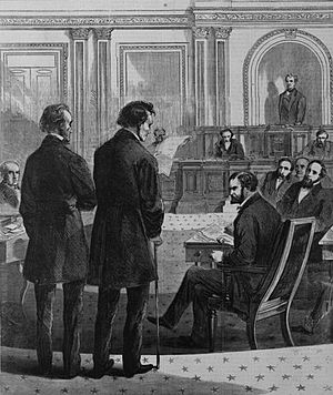John Bingham - John A. Bingham and Thaddeus Stevens before the Senate addressing the vote on President Andrew Johnson's impeachment by the House of Representatives.