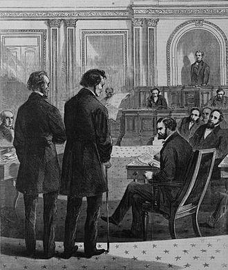 John Bingham - John A. Bingham and Thaddeus Stevens before the Senate addressing the vote on President Andrew Johnson's impeachment by the House of Representatives.