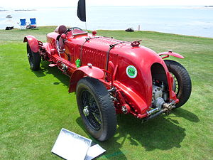 "George Daniels (watchmaker) - Daniels's ex-Sir Henry ""Tim"" Birkin red Bentley Motors monoposto racer, known as ""Bentley Blower No.1"" or the ""Brooklands Battleship"", shown at the 2009 Pebble Beach Concours d'Elegance"