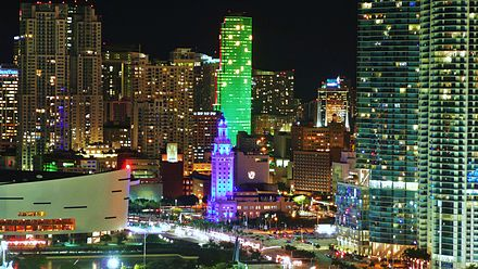 The Downtown area has the fastest-growing neighborhoods in the city. Biscayne Boulevard night 20101202.jpg