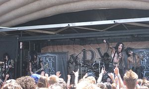 Black Veil Brides - Black Veil Brides performing on the 2011 Warped Tour. Left to right: Jinxx, Jake Pitts, Christian Coma, Andy Biersack, and Ashley Purdy.