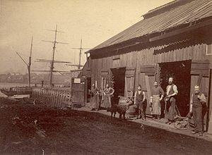 Saint John, New Brunswick - A blacksmith shop near Saint John Harbour in the late 19th century
