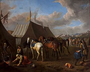 Camp scene with urinating horse
