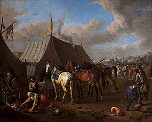 Scena obozowa z sikającym koniem