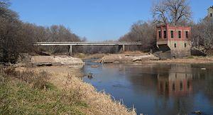 Blue Springs, Nebraska - Remains of dam and hydroelectric power plant, below Broad Street bridge, on Big Blue River at Blue Springs