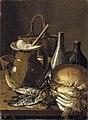 Bodegón con pescados, cebolletas, pan y objetos diversos-Meléndez.jpg