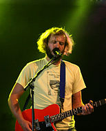 American singer-songwriter Justin Vernon performing with Bon Iver in Sweden in 2009.