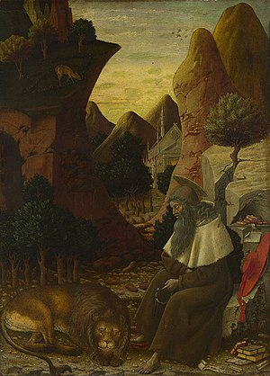 Bono da Ferrara - Saint Jerome in a Landscape, ca. 1440, now in the National Gallery