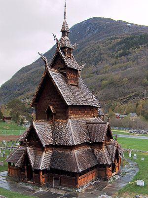 Medieval Scandinavian architecture - Borgund stave church, in Borgund, Lærdal, Norway, built in the 12th century