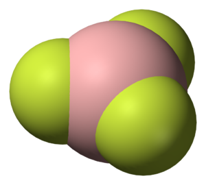 Trigonal planar molecular geometry - Structure of boron trifluoride, an example of a molecule with trigonal planar geometry.