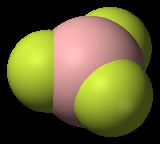 Trigonal planar molecular geometry - Structure of boron trifluoride, an example of a molecule with trigonal planar geometry.
