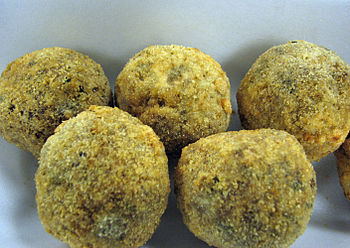 English: Photograph of Boudin sausage balls; a...