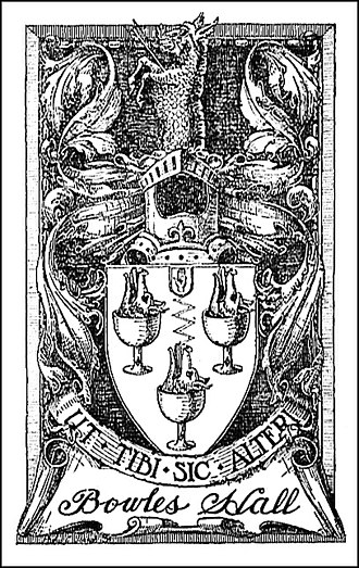 """Bowles Hall - An etching of the Bowles Hall crest. """"Ut Tibi Sic Alteri"""" is the motto and it is translated as """"As to yourself so to another."""""""