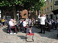 Brass Band playing in Bucky Doo Square, Bridport. - geograph.org.uk - 1513946.jpg