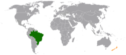 Map indicating locations of Brazil and New Zealand