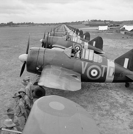 Buffalos of No. 453 Squadron RAAF lined up at RAF Sembawang in November 1941. Buffalo AN185/TD-V was flown by Flt Lt Doug Vanderfield, who shot down three Japanese bombers (two Ki-48s and one Ki-51) over Butterworth, Penang on 13 December 1941, while his undercarriage was still down. Brewster Model 339 Buffalo.jpg