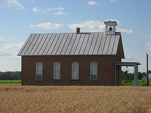 National Register of Historic Places listings in Putnam County, Ohio - Image: Bridenbaugh District No. 3 Schoolhouse, southern side