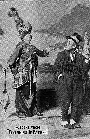 Stage Irish - Maggie and Jiggs in a scene from the 1914 playBringing Up Father.
