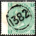 British one shilling wing marginal stamp with telegraphic cancel 1382.jpg