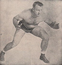 Bronko Nagurski - Sports Facts - 25 April 1950 Minneapolis Auditorium Wrestling Program - Nagurski, Raines (cropped).jpg